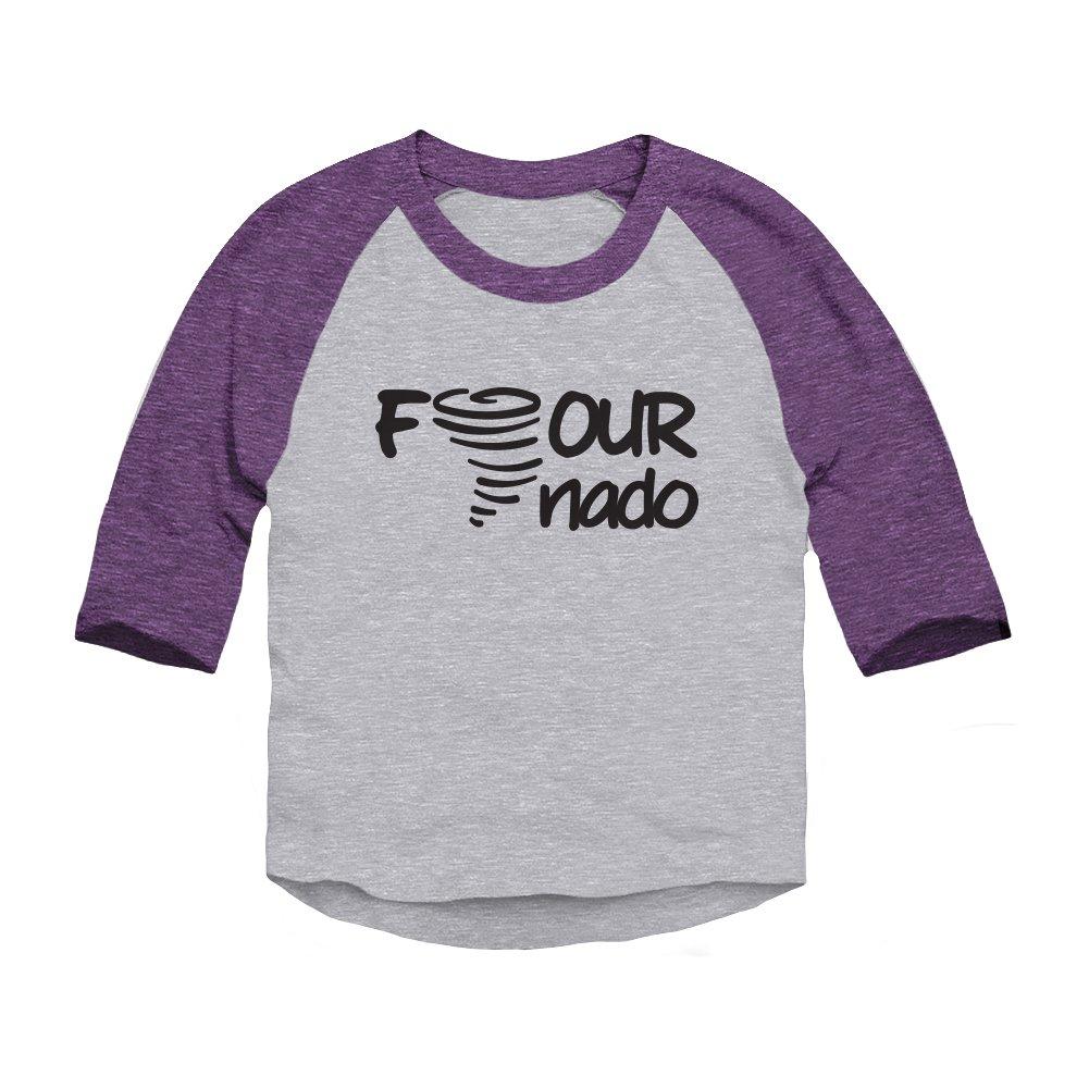 Trunk Candy Four-Nado Fourth Birthday Toddler 3/4 Sleeve Raglan Baseball T-Shirt 124666