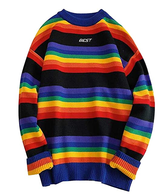 OTW Men Long Sleeve Colorful Dyeing Rainbow Knitting Loose