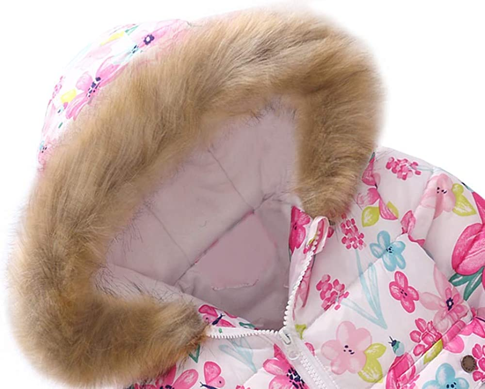 Floral Stars Print Fur Hooded Autumn Winter Plush Thick Zipper Windproof Jacket Winter Warm Coats for Girls Boys