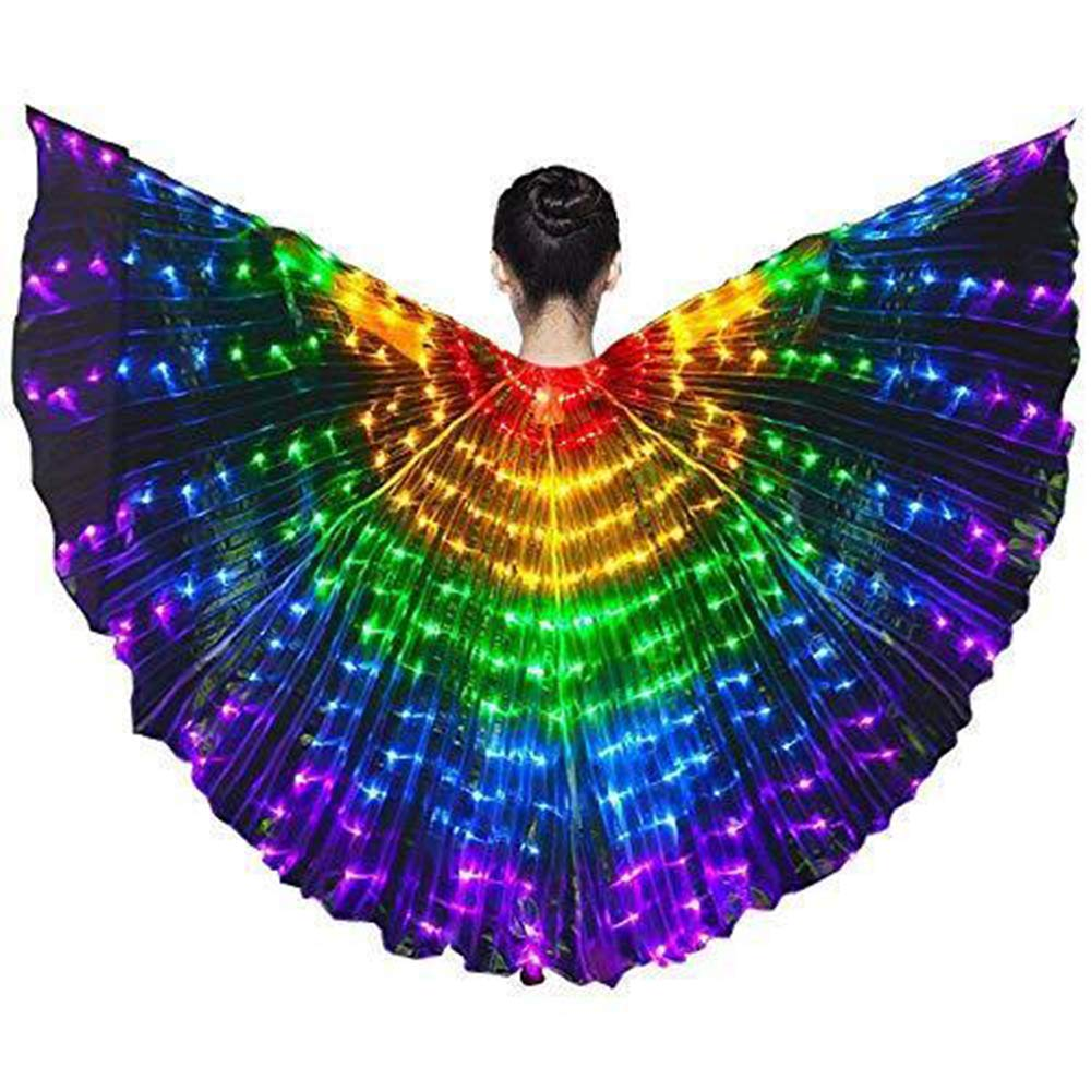 Tieesa Stage Performance Props Butterfly Wing Costume LED Dance Wings Rainbow Colors With elescopic Stick for Clothing Performance Belly Dance Show Catwalk Halloween Christmas Party Girl Children