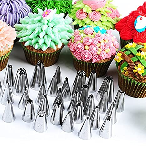Výsledok vyhľadávania obrázkov pre dopyt 35 Pcs Cake Piping Nozzles Stainless Steel Pastry Icing Flower Tips Cake Decorating Mouth Cream Icing Device Cream Mouth