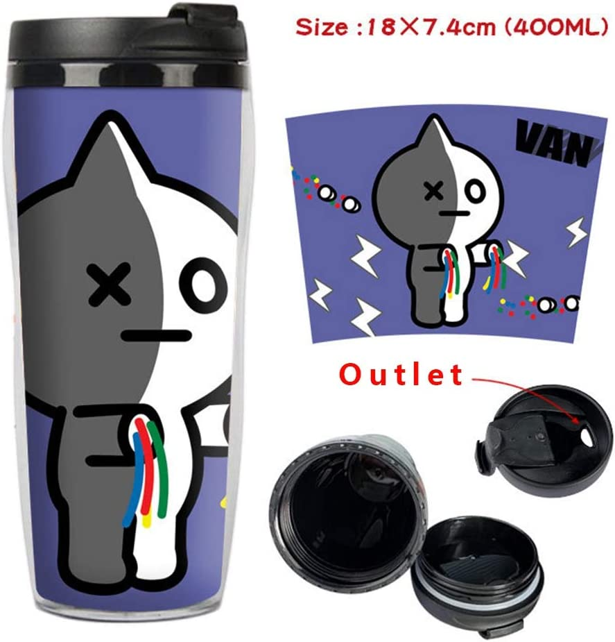 400ml Kunandroc KPOP BTS TATA COOKY Drinking Bottle Double Wall Insulated Travel Camping Hiking Cycling Cup RJ