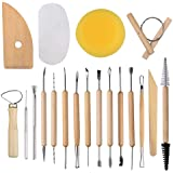 EuTengHao 19Pcs Pottery Tools Clay Sculpting Carving Tool Set Contains Most Essential Wooden Clay Tools for Potters