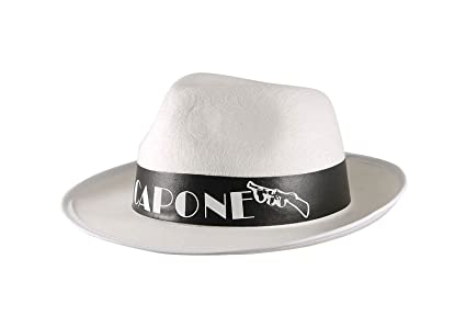 Image Unavailable. Image not available for. Color  MA ONLINE Mens Al Capone  White Gangster Trilby Hat Womens Fancy Dress Costume Accessory 333565807a73
