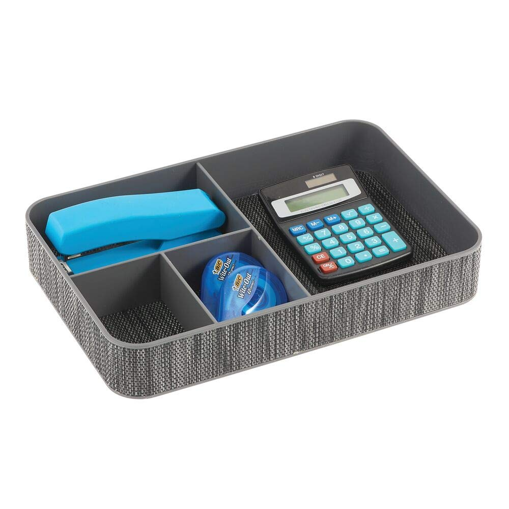 Con 4 compartimentos para el material de oficina: l/ápices gris mDesign Juego de 2 organizadores de escritorio Bandeja de oficina para escritorio o caj/ón etc clips post-it