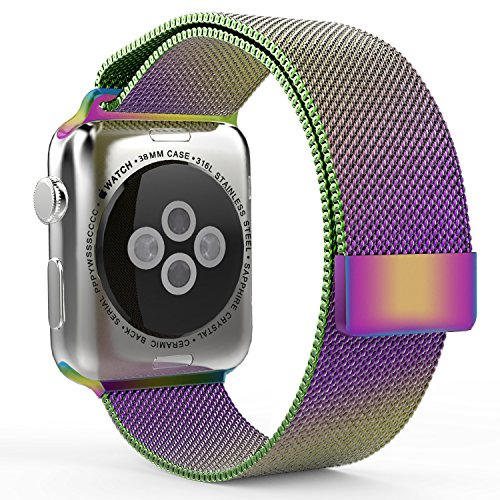 Enow Smart Watch Band, Fully Magnetic Closure Clasp Mesh Loop Milanese Stainless Steel Bracelet Strap for Smart iWatch Sport & Edition 38mm & 42mm