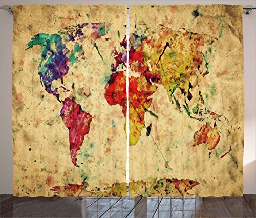 Ambesonne Retro Curtains, Vintage World Map on Grunge Backdrop with Colored Continents Artsy Atlas Chart Image, Living Room Bedroom Window Drapes 2 Panel Set, 108W X 84L inches, Multicolor (Chart Window Panel Size)