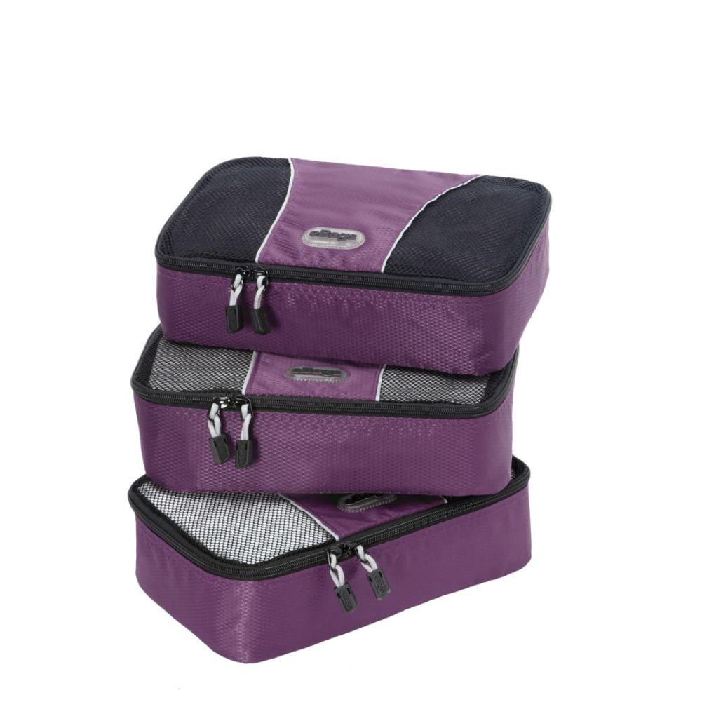 Lot de 3 eBags Cubes de Voyage Petits Sacs de Rangement Bagage Aubergine
