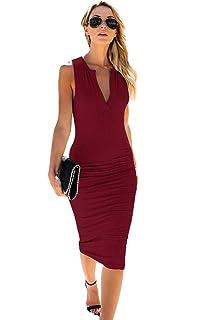 fd92884254e9 Donna Vintage Elegante Scollo a V Manica Corta Colore Solido Abito  Lunghezza Ginocchio Slim Vestito a