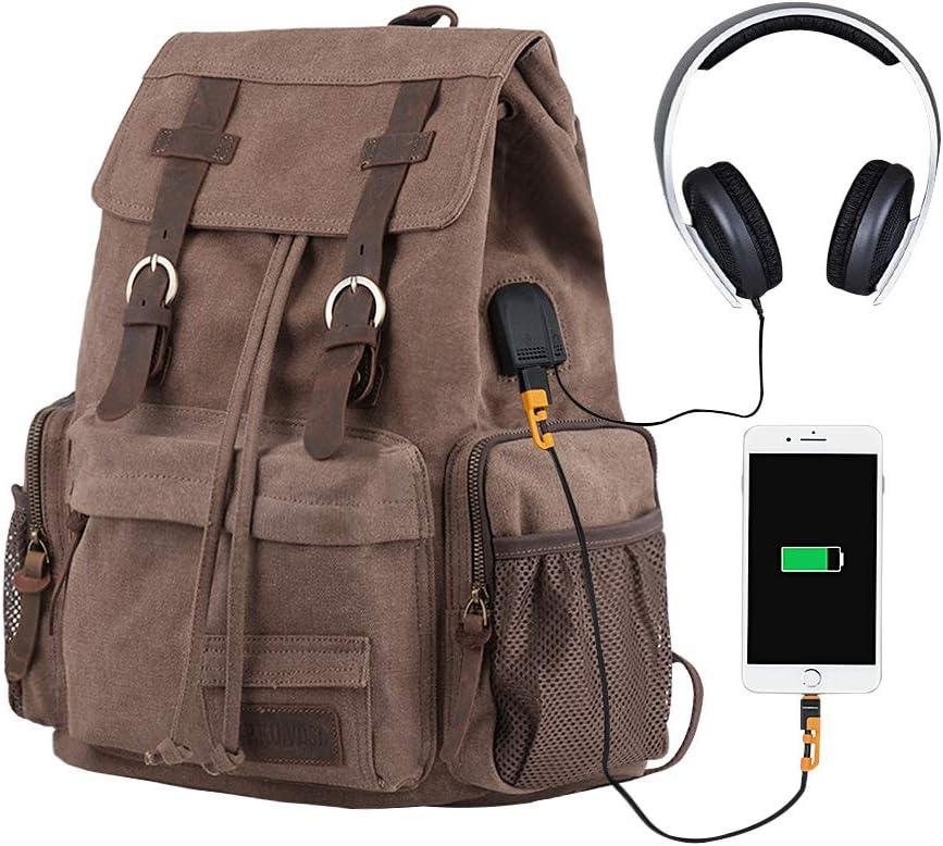 Laptop Backpack with USB Charging Port, P.KU.VDSL Travel Canvas Backpack for Men and Women, College School Bookbag Computer Bag Fits 17'' Laptop