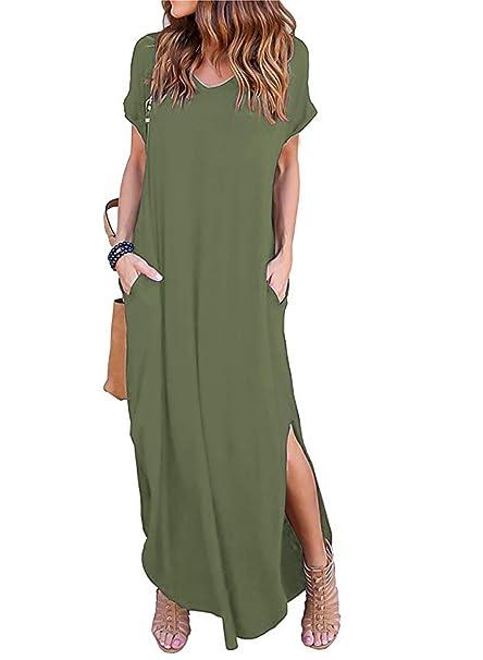 Amazon.com: Maxi vestido de manga corta con cuello en V y ...