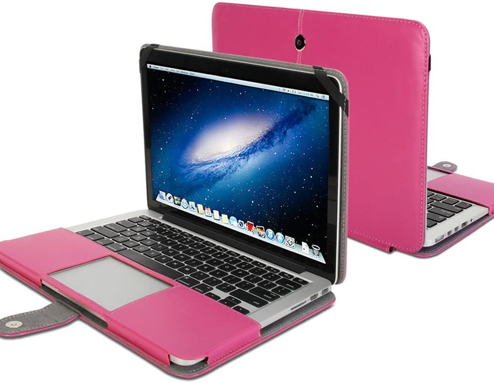 GMYLE(R MacBook Pro 13 inch with Retina Display - Hot Pink Premium Quality PU Leather Notebook Laptop with Microfiber Clip on Sleeve Bag Case Cover for MacBook