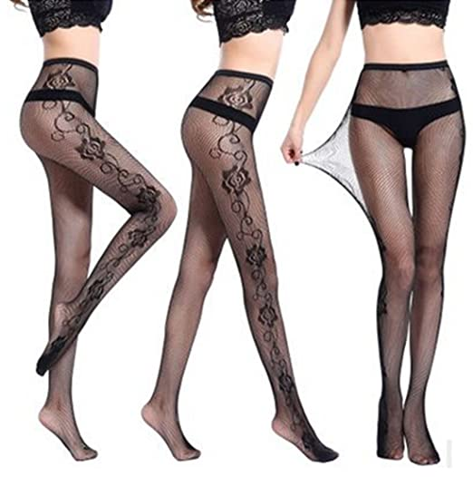 e2673ce02 Image Unavailable. Image not available for. Color  Sexy Women Black Lace  Top Mesh Thigh-Highs Leggings Stockings Garter Belt Socks ...