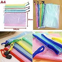 10 Pcs Mixed Color Transparent Mesh Waterproof A4 Size Document Bag File Pocket Holder Bag
