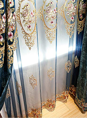 Aside Bside Victorian Style Transparent Window Decoration Rod Pocket Top Flower Mirror Embroidered Sheer Curtains Houseroom Kitchen Sitting Room (1 Panel, W 50 x L 63 inch, Blue) by Aside Bside