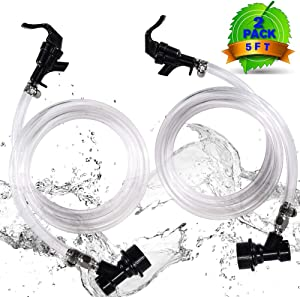 【2 PACK】MRbrew 5ft Clear Ball Lock Beer Line, 3/16'' I.D Keg Quick Disconnect Draft Beer Line Assembly with 2 Picnic Faucet & 4 Food-Grade Hose Clamps, Liquid Dispensing Tube Kit for Homebrew