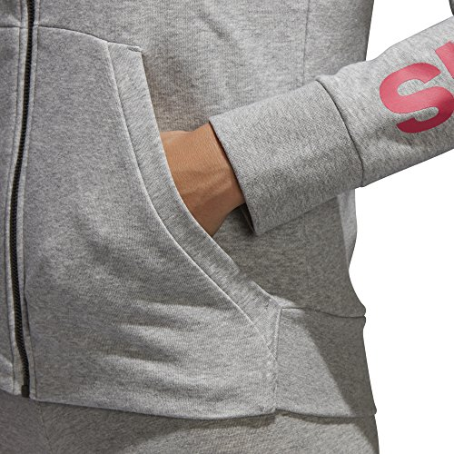 adidas Women's Essentials Linear Full Zip Fleece Hoodie, Medium Grey Heather/Real Pink, X-Small by adidas (Image #4)