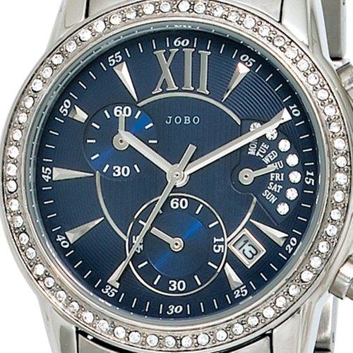 JOBO montre chronographe à quartz mixte-acier inoxydable-cristal swarovski