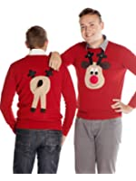 Woolly Babs Men's Christmas Jumper Front & Back Rudolph Reindeer Roundneck Beige Face
