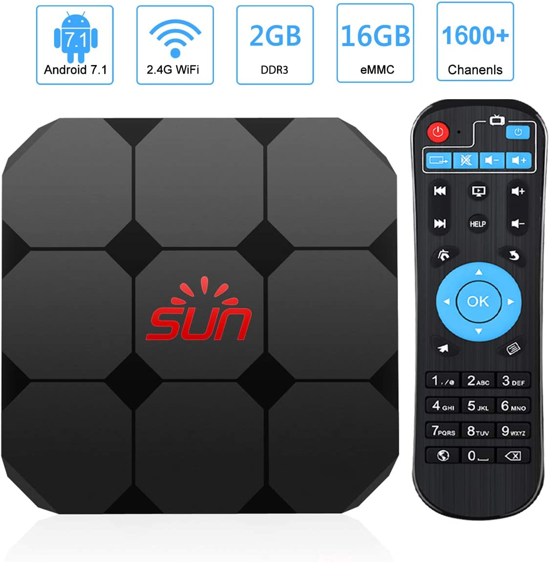 Android TV Receiver Sun IPTV Box 2020 Newest Upgraded Version America 1600+ 4K HD International Live Channels from India Brasil Asia Including Sports Movies News Adult Channels Europe