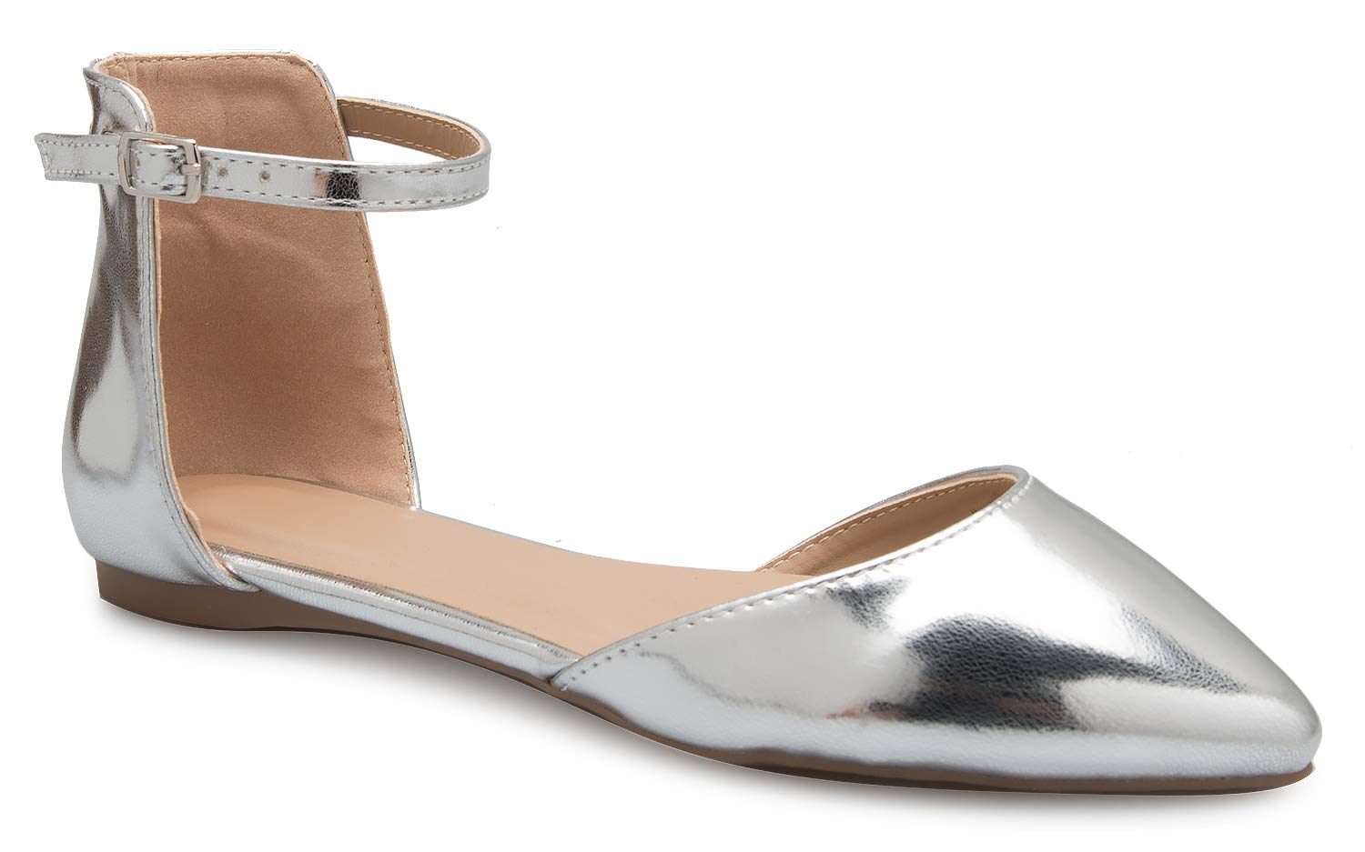 OLIVIA K Women's D'Orsay Pointed Toe Fashion Ballet Flat Buckle Ankle Strap Closure