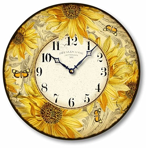 Item C8829 Vintage Style 12 Inch Sunflower Clock