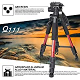 Q111 55'' Camera Tripod Aluminum alloy Flexible Travel Camera Tripod with 3-Way Panhead and Phone Holder Mount for Gopro, Projector, Tablet and Canon Nikon Sony DSLR Cameras Red