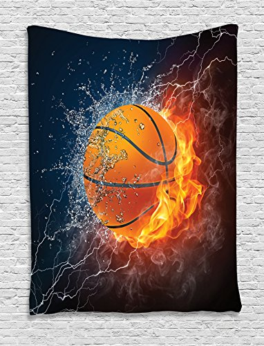 - Ambesonne Sports Decor Collection, Basketball Ball on Fire and Water Flame Splashing Thunder Lightning Image, Bedroom Living Room Dorm Wall Hanging Tapestry, Navy Blue Orange White