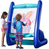 HearthSong Heavy-Duty Vinyl Inflatable Indoor and Outdoor Easel for Kids with Paints, Sponges, Paintbrush, and Built-in Art T