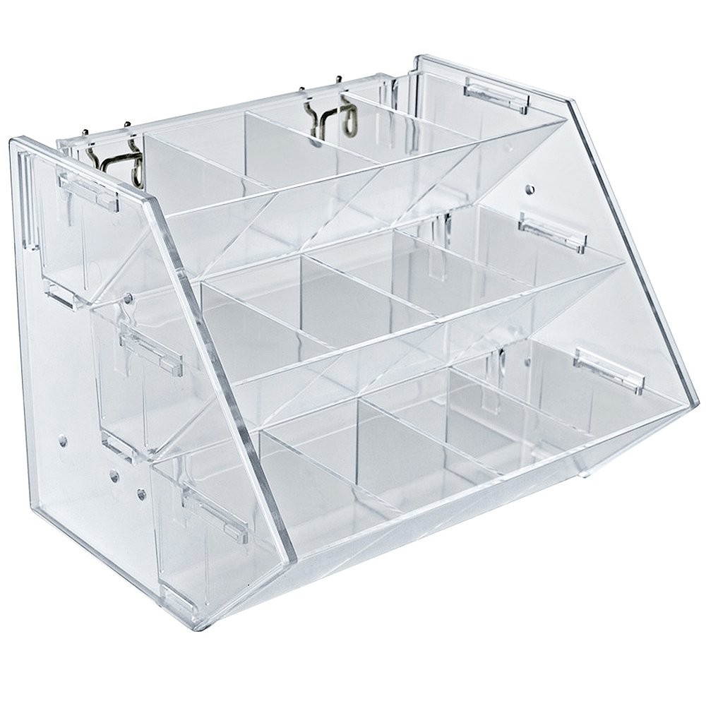 Azar Displays 223012 12-Compartment 3-Step Counter/Pegboard/Slatwall Tray