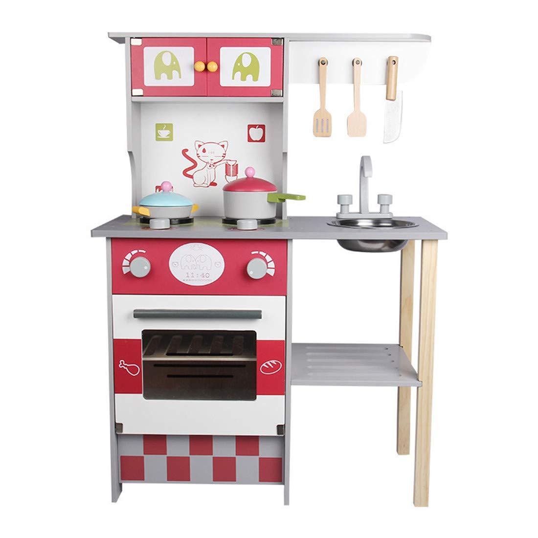 キッズキッチン木製おままごとセット キッチンフードクッキングアクセサリー 子供用シェフロールトイ   B07LBT2Y8B