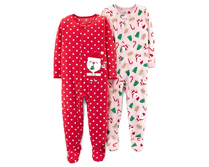 just one you toddler girls footed fleece christmas pajamas 2 pack 12 month