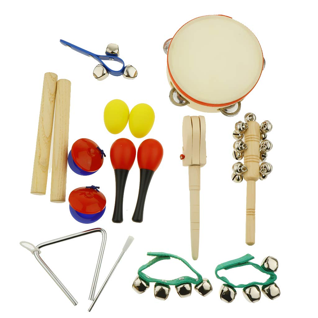 kesoto 16pcs Toddler Musical Instrument Toy Set, Tambourine & Sand Egg & Maracas & Hand Drum and More for Kids Children Music Party Toy