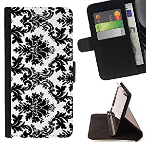 For Apple Iphone 4 / 4S Black White Stylish Classy Beautiful Print Wallet Leather Case Cover With Credit Card Slots And Stand Function
