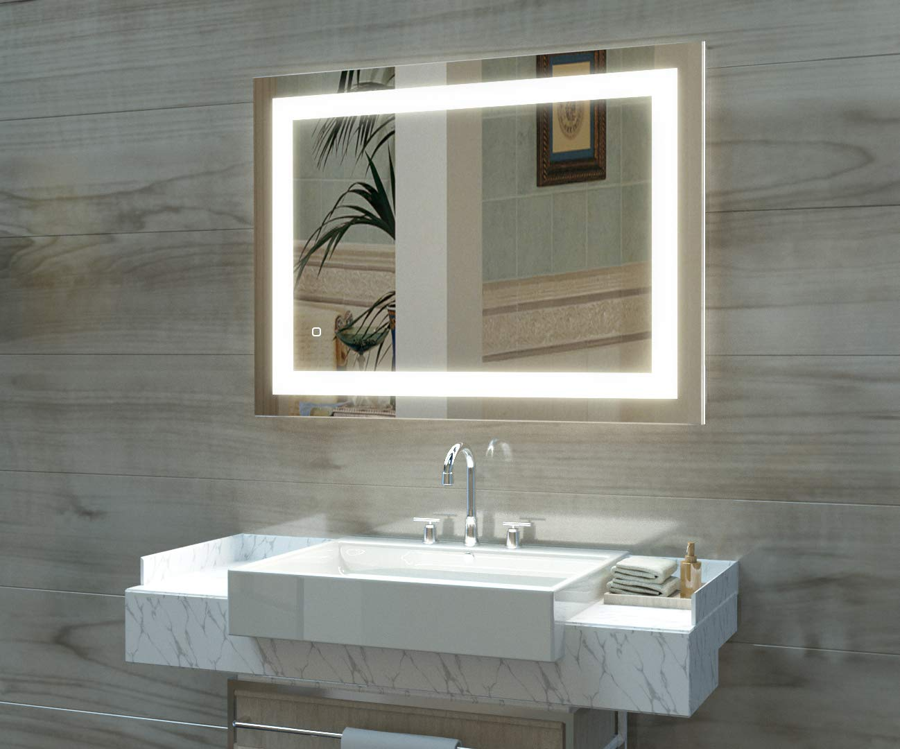 HAUSCHEN 36 x 28 inch LED Lighted Bathroom Wall Mounted Mirror with 5500K High Lumen + CRI>90 Cold White Lights and Anti Fog and Dimmable Memory Touch Button + IP44 Waterproof + Vertical & Horizontal