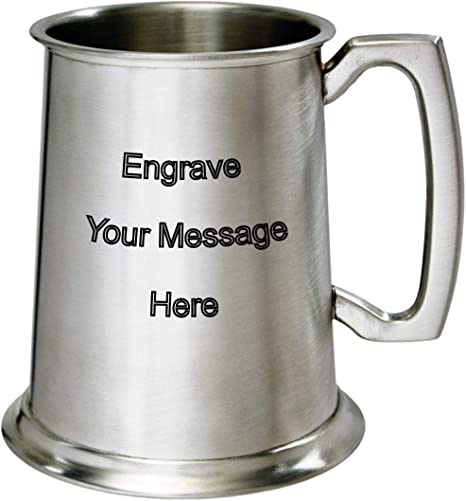 NEW Personalised 1 Pint Antique Finish Pewter Tankard Any Message Engraved