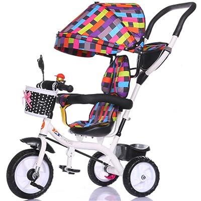 De luxe multifonction 4-en-1 Enfant Tricycle Vélo Vélo Fille Vélo de Fille pour 6 Mois -6 Ans Bébé Trolley Trois Roues Avec Auvent et Parent Poignée   Amortissement   Pneus en caoutch
