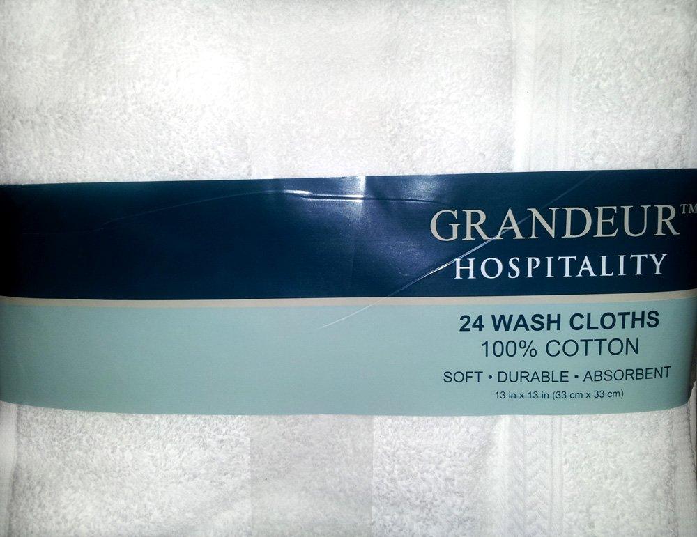 Grandeur Hospitality 100% Cotton Wash Cloths 24 Pack