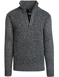 Men's Casual Fleece Lined Half-Zip Sweater Jacket