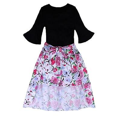 Lanlan Chica Elegante Ropa Conjunto Negro Camiseta + Cortocircuitos de Flores + Dovetail Falda Regalo Ropa de Verano 3 Unids/set, : Amazon.es: Ropa y ...
