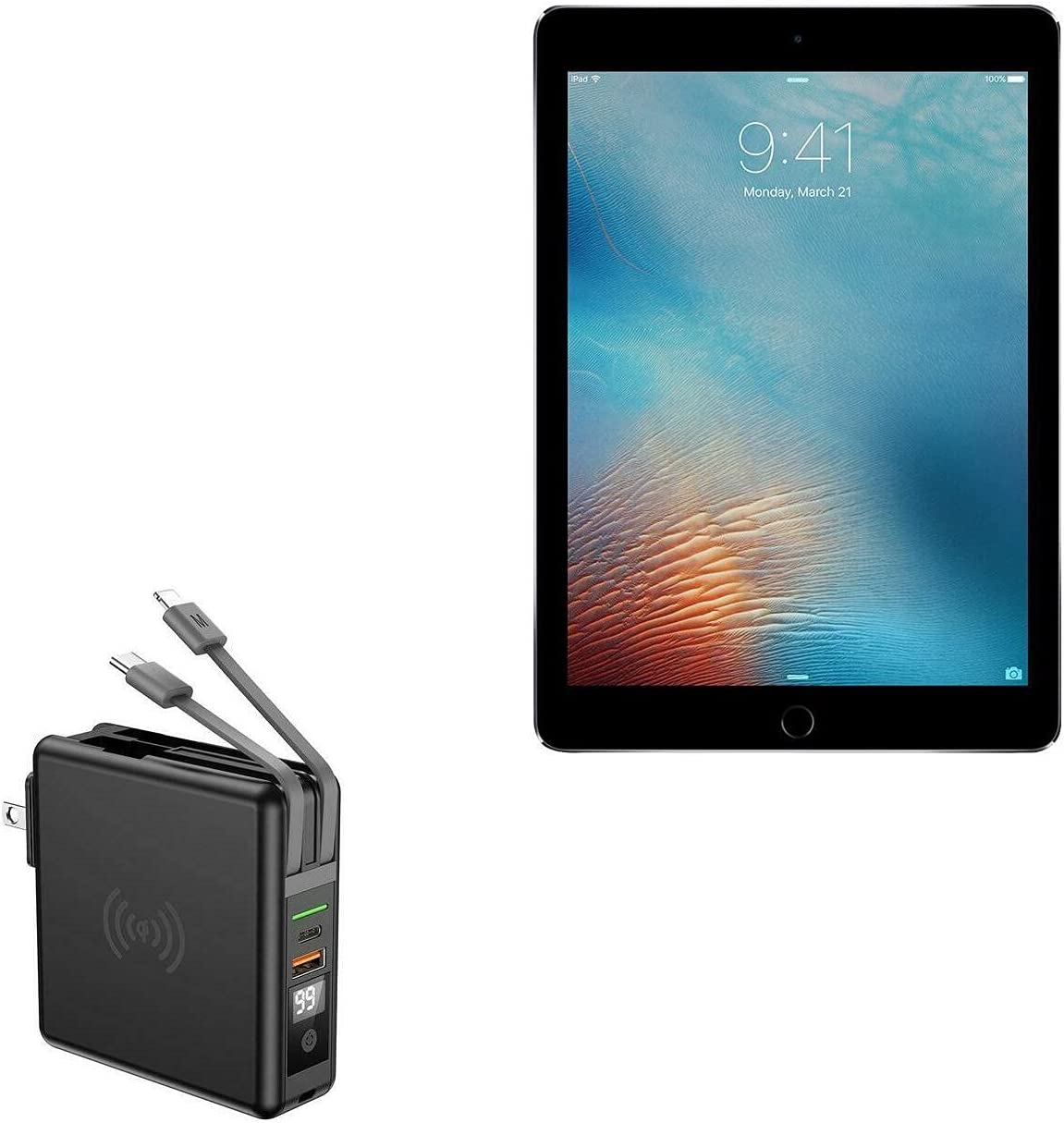 Charger for iPad Pro 9.7 (2016) (Charger by BoxWave) - Wireless Rejuva Wall Charger (10000mAh), Wireless Rejuva Wall Charger (10000mAh) for iPad Pro 9.7 (2016), Apple iPad Pro 9.7 (2016) - Jet Black