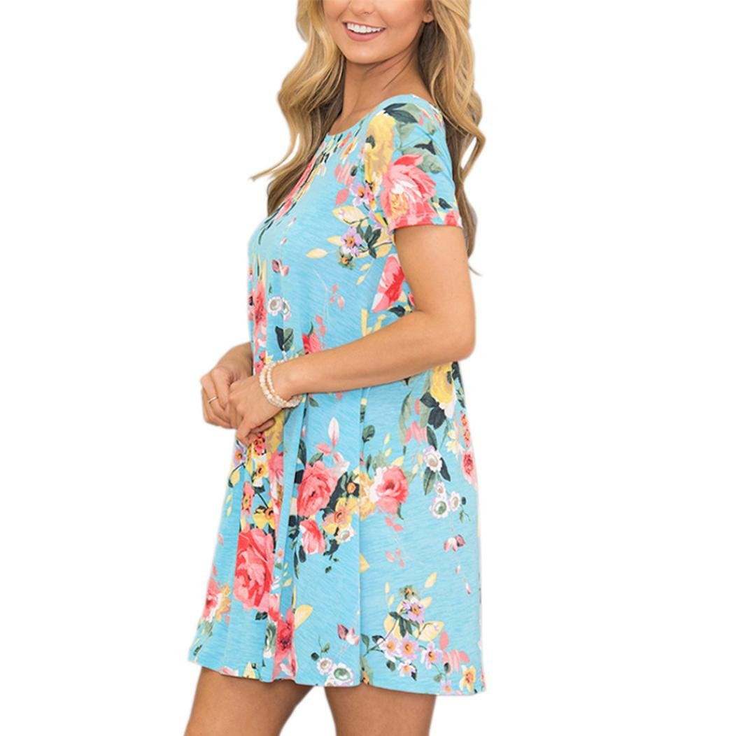 Misaky Clearance Womens Summer Short Sleeve Floral Striaght Casual Party Dress with Pocket at Amazon Womens Clothing store: