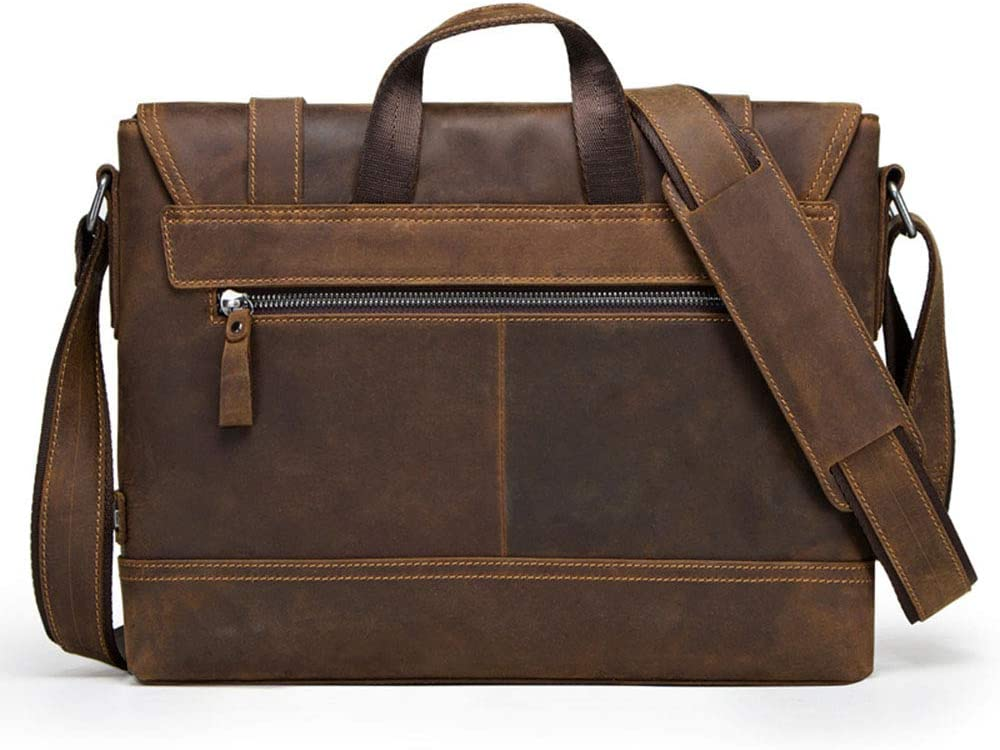 Mens Briefcase Mens Shoulder 12 inch Leather Laptop Messenger Bag Leather Crossbody Work//Day Bag Coffee Business Briefcase
