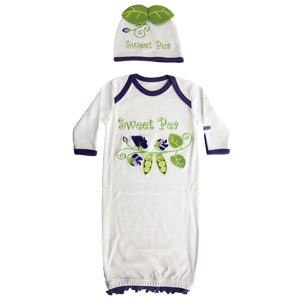 Sozo Baby Girls Sweet Pea Gown and Hat Set