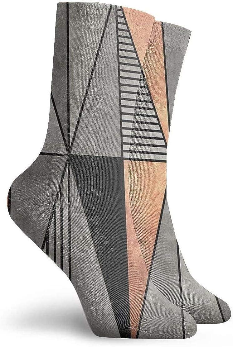 Novedad, divertido, loco, calcetín de tripulación, triángulos de hormigón y cobre, calcetines deportivos estampados, calcetines deportivos de 30 cm de largo, calcetines de regalo personalizados