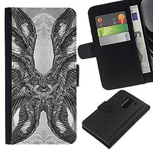 Be-Star la tarjeta de Crédito Slots PU Funda de cuero Monedero caso cubierta de piel Para LG G3 ( Hawk Owl Eagle Eye Feathers Wings )
