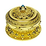 Saim Chinese Classic Style Incense Burner Alloy Metal Buddha Incense Holder Candle Censer - Buddhist Decor, Home Decoration - Small (Gold)