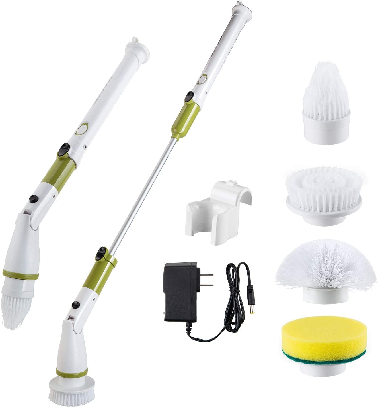 Electric Spin Scrubber Upgraded Power Scrubber 360 Cordless Tub and Tile Scrubber with 4 Replaceable Shower Scrubber Brush Heads, 1 Extension Arm for Cleaning Bathroom, Floor, Wall, Kitchen, Tub, Tile