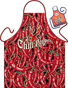 Set–Fun delantal: Chili peppers–impresa de barbacoa y delantal + Mini Deko Delantal