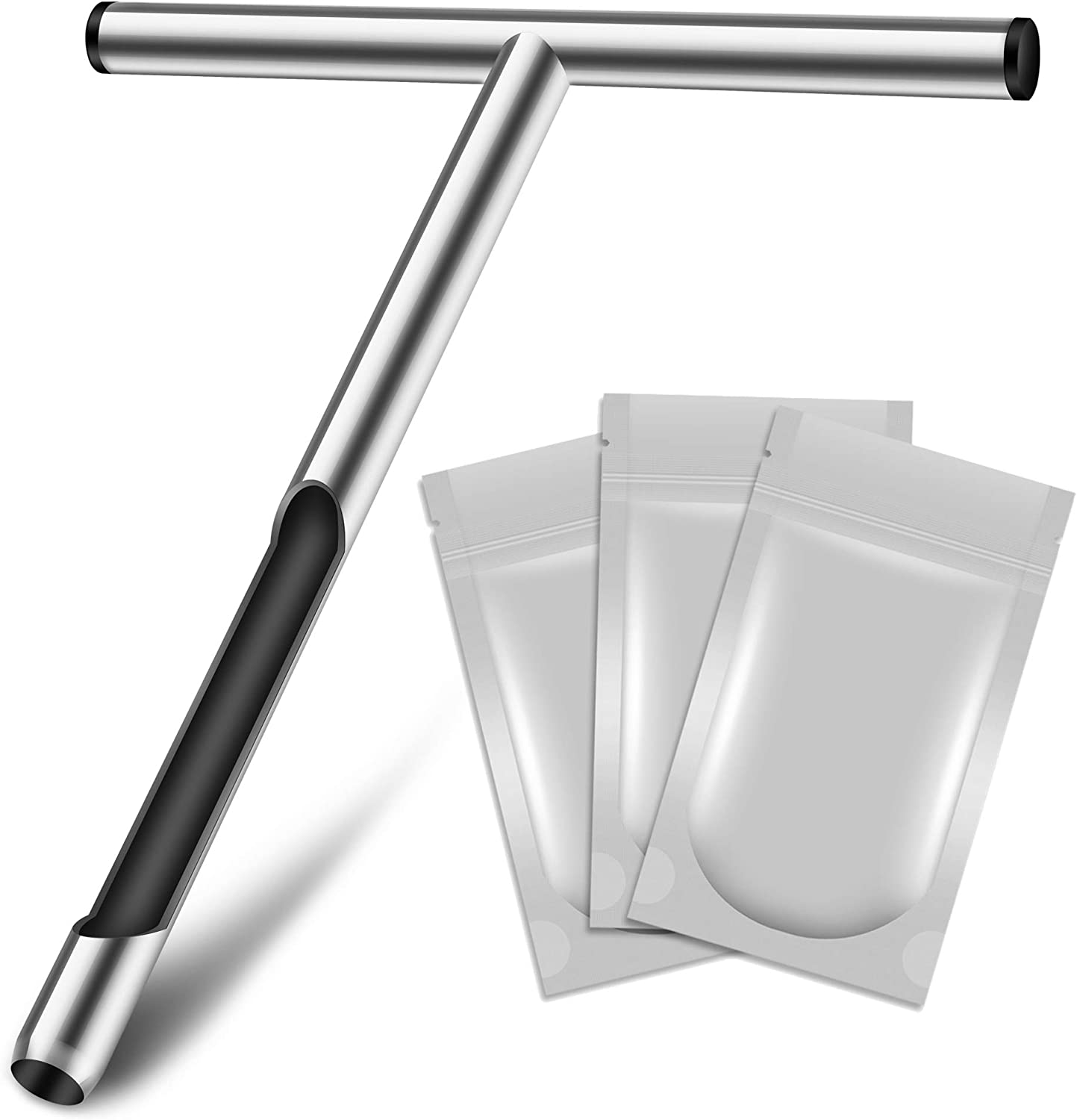 LOSTRONAUT Soil Sampler Probe 12 Inch - Tubular Contractor Grade Enforced T Handle - Stainless Steel with Core Sampling Area - Includes Soil Sample Kit Test Bags - for Garden Lawn Farm or Golf Course